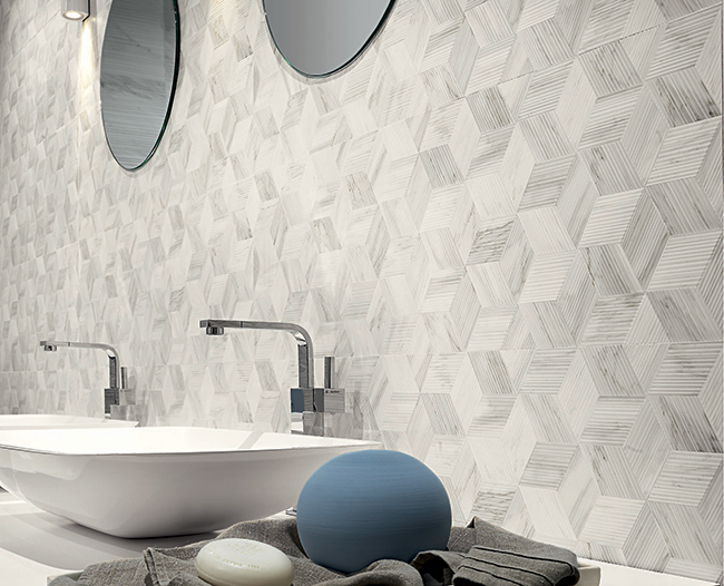 Eleganza Porcelain White Experience Apuano room scene