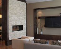 Realstone Systems natural stone panel in Chiseled Sea Shell room scene