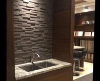 Realstone Systems Mocha Honed natural stone panel room scene