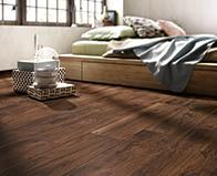 Eleganza Wood Recreation Porcelain Woodland Walnut planks room scene