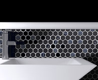 Eleganza Glass Onix Hex Gun Metal backsplash